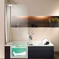 Barrierefreie Badewanne mit Tür und Hebesitz - nullbarriere