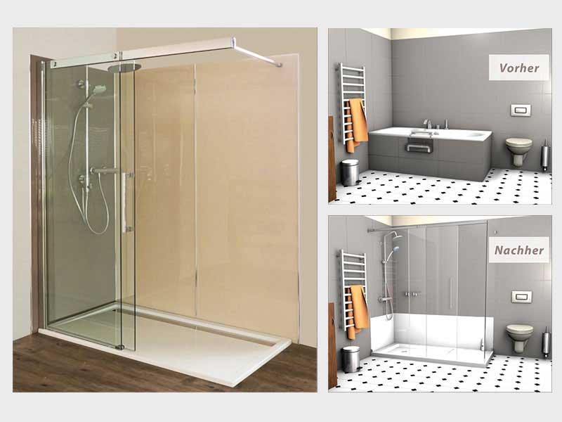 badewannenumbau alte wanne zur neuen dusche nullbarriere. Black Bedroom Furniture Sets. Home Design Ideas