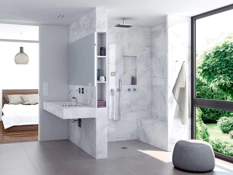barrierefreie dusche bodengleiche mit punktentwasserung detail bodenaufbau bodenplatten umbau